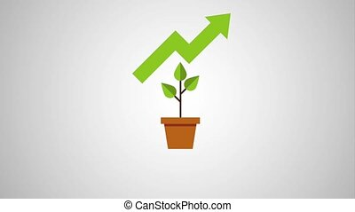plant in pot with graph arrow for growth rising business icons