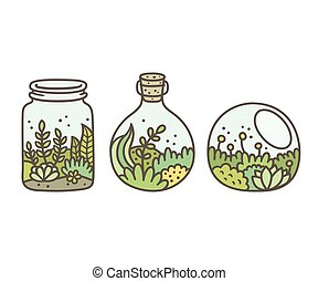 Plant in terrariums - Plants in terrariums set. Moss,...
