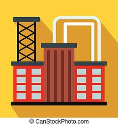 Plant industrial building flat icon