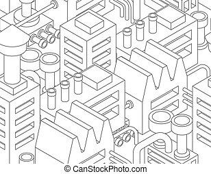 Plant industrial pattern seamless. manufactory texture. Factory background. Vector illustration