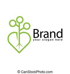 Plant Love Logo, flat design. Vector Illustration on white background