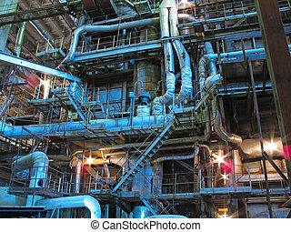 plant, macht, pijpen, turbines, mechanisme, buizen, stoom