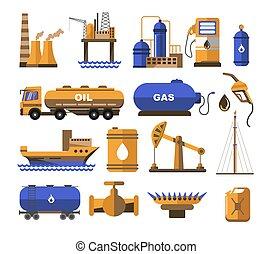 plant, olie, balloon, gas, fabriek, station, brandstof, of