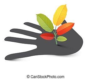 Plant on Human Hand. Vector Illustration.