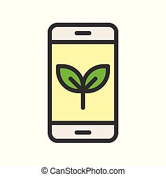 Plant on smart phone, filled outline Flat icon environmental friendly concept