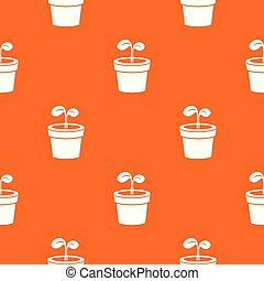 Plant pattern vector orange