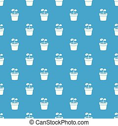 Plant pattern vector seamless blue