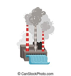 Plant pollutes the air. Vector illustration on a white background.