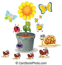 plant pot and insects - illustration of plant pot and...