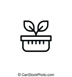 Plant pot line icon isolated on white. Vector illustration