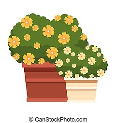 plant pot with flowers icon cartoon