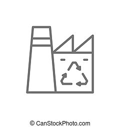 Plant recycling garbage, industrial waste factory line icon.