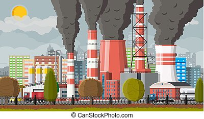 Plant smoking pipes. Smog in city.