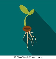 Plant sprout icon, flat style