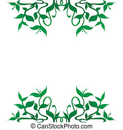 An editable vector of a stylized plant sprouts decoration for frame borders; flourishing curved leaves and stems pattern. Isolated illustration on white background.