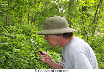 botanist studying plants with a magnifying glass wearing a pith helmet