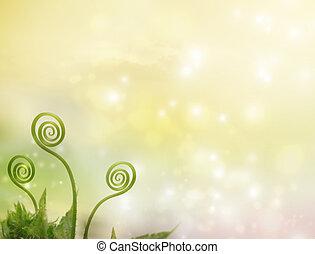 Plant tendrils on fantasy background - Plant tendrils on...