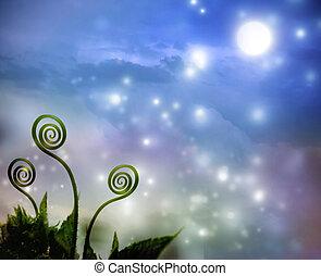Plant tendrils on night fantasy background