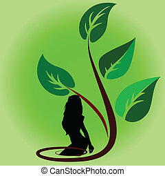 plant, vector, meisje, illustratie, spotprent