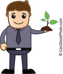 plant, vector, vasthouden, minuscuul, man