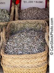 Plant, wicker baskets stuffed medicinal healing herbs