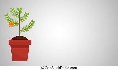 plant with bitcoin ecommerce animation