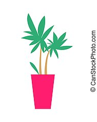 Plant with Broad Leaves Poster Vector Illustration - Plant...