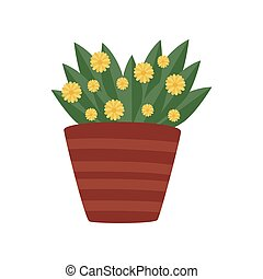 Plant with green leaves and yellow flowers in ceramic pot. Natural home decor element. Gardening theme. Flat vector icon