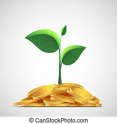 Plant with leaves on a pile of gold coins. Money deposit to the