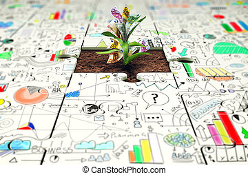 Plant grows from a puzzle with statistics drawn above. Growth and development through teamwork concept