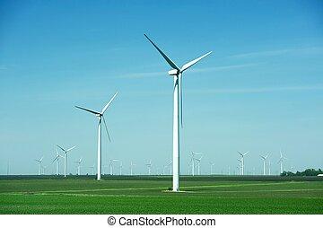 plantação, moinhos, vento