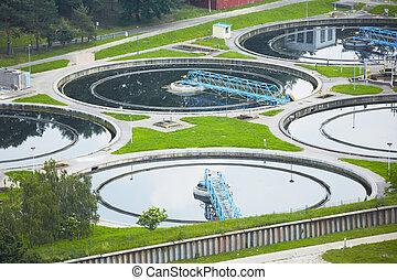 planta água, tratamento desperdício