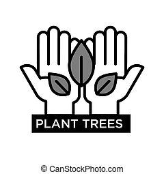 planta, árboles, agitative, eco, cartel, con, manos, eso, asimiento, hojas