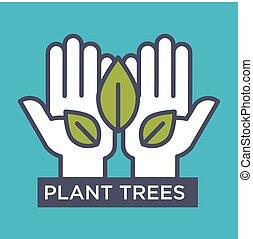 planta, árboles, agitative, eco, cartel, con, manos, y, hojas