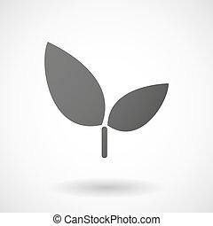 planta, ícone, branco, fundo