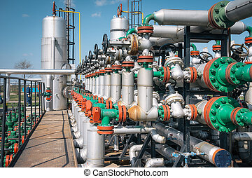 planta, óleo, gás, processando