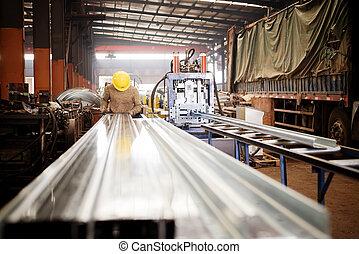planta acero, trabajadores, en, work.
