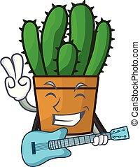 planta, aislado, spurge, guitarra, cacto, mascota