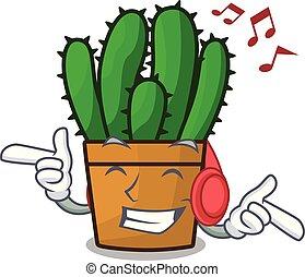 planta, aislado, spurge, la música escuchar, cacto, mascota