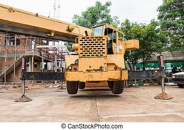 planta, amarillo, construcción, camión, auge, grúa