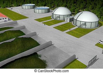 planta, biogas, vista aérea