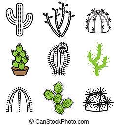planta, cacto, conjunto, iconos