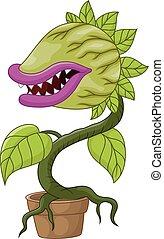 planta, carnívoro, caricatura