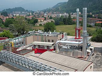 planta, cogeneration, -, fábrica de papel, pulpa