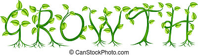 planta, conceito, crescimento, tipografia