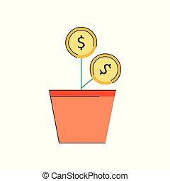 planta, conceito, dinheiro, vetorial, brilho, investimento, ícone