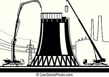 planta, construção, esfriando, poder, torre