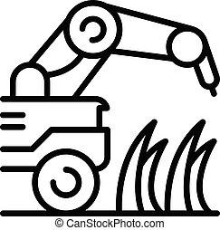 planta, contorno, icono, máquina, granja, estilo