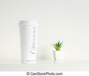 planta, copo, coffe, verde, potted, branca
