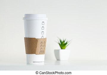 planta, copo, papel, verde, potted, branca